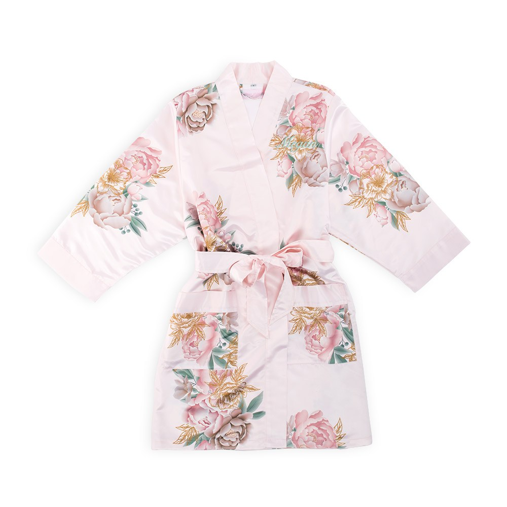 Personalized Junior Bridesmaid Satin Robe with Pockets - Blush Pink Blissful Blooms