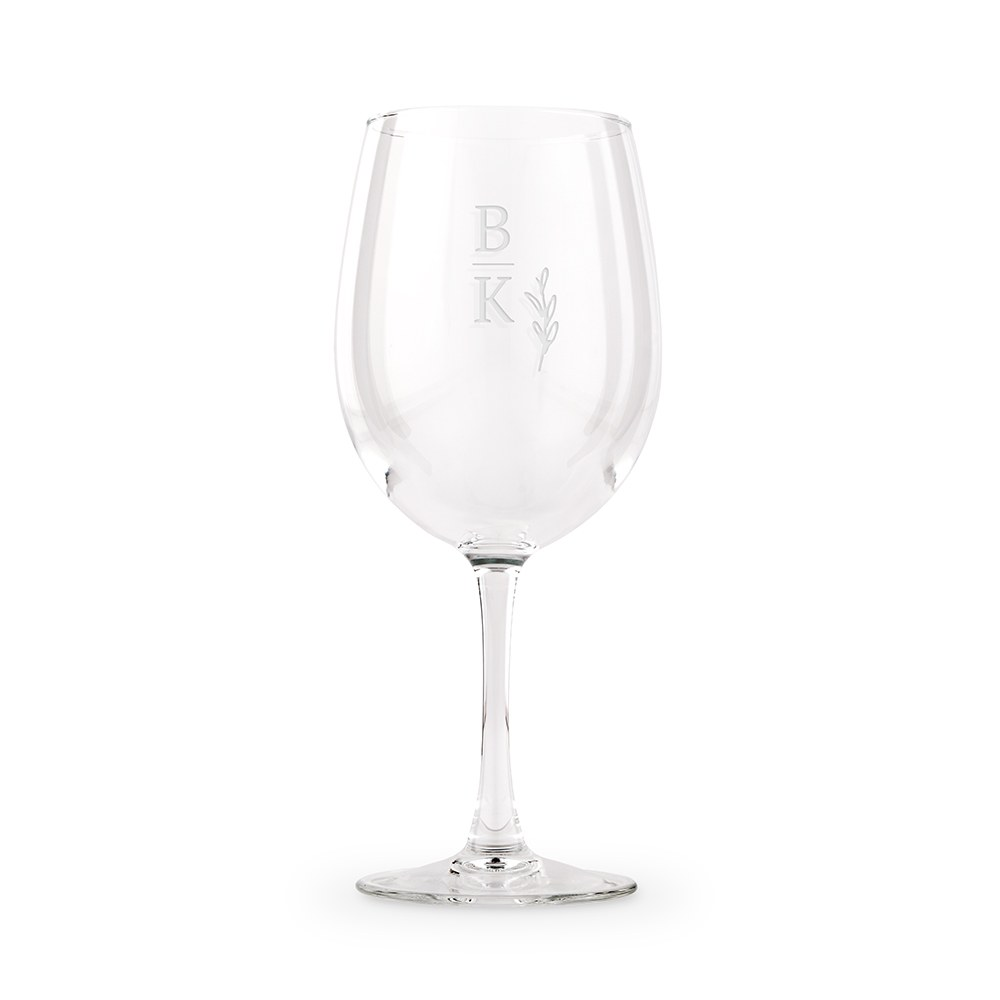 Large Personalized Wine Glass - Rustic Love Monogram