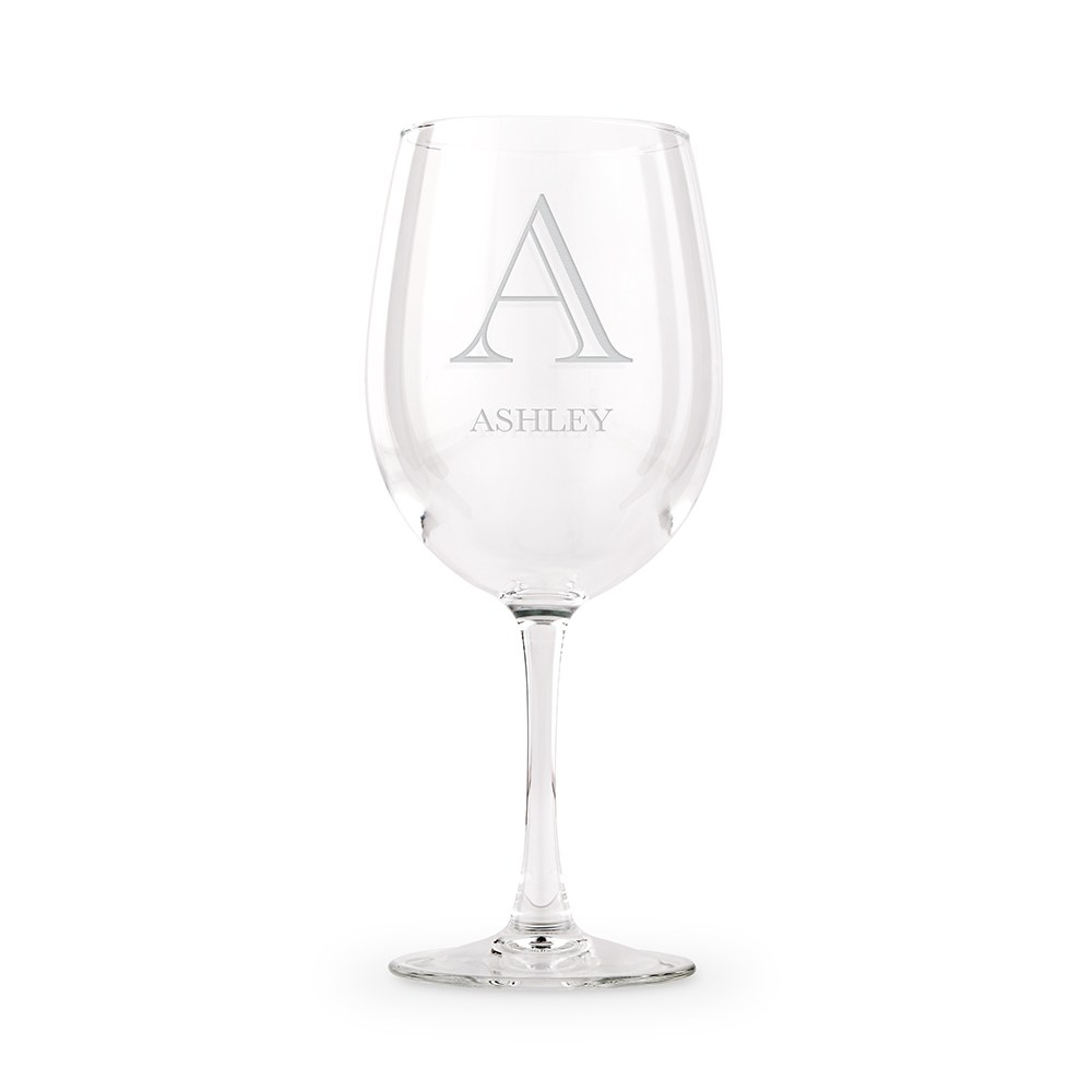 Large Personalized Stemmed Wine Glass – Classic Monogram Engraving