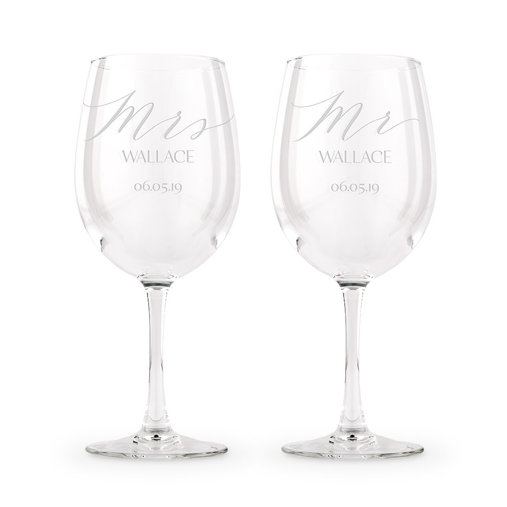 Large Personalized Stemmed Wine Glass Set – Mr. and Mrs. Engraving