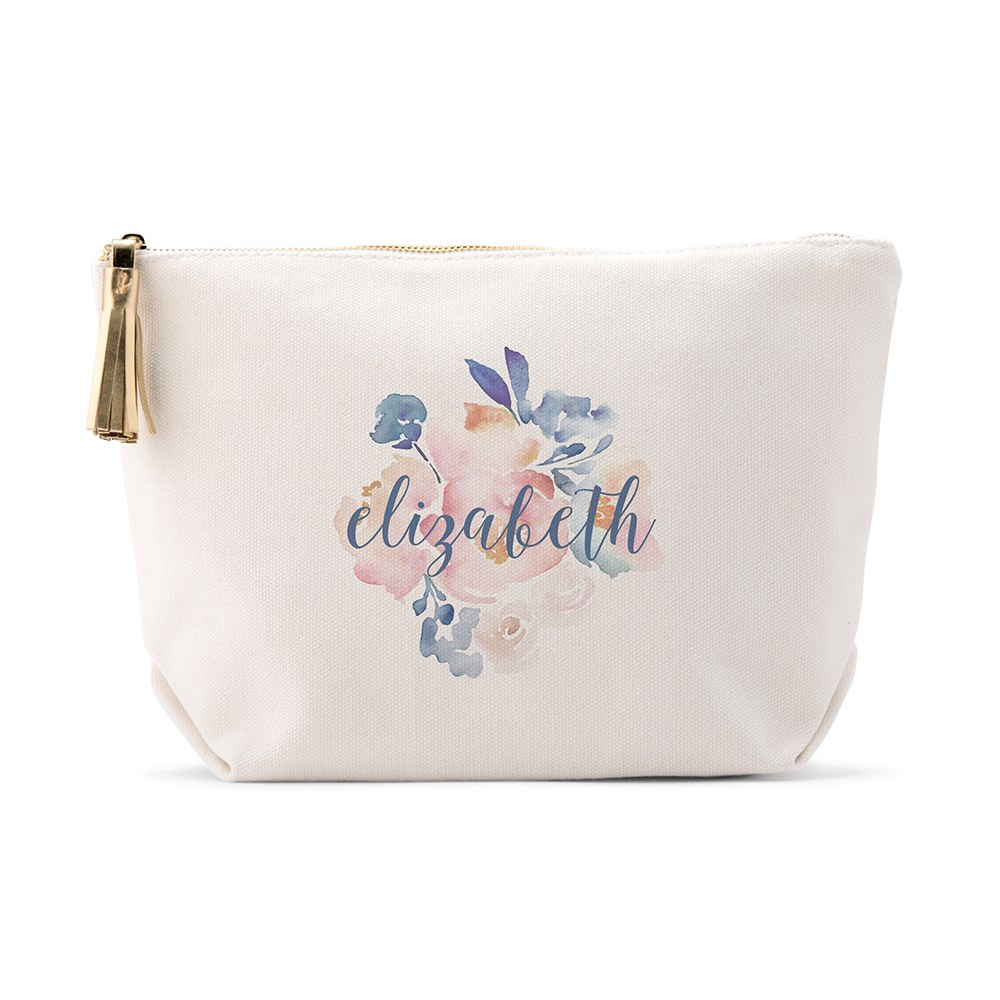 Large Personalized Canvas Makeup And Toiletry Bag For Women - Floral Garden Party