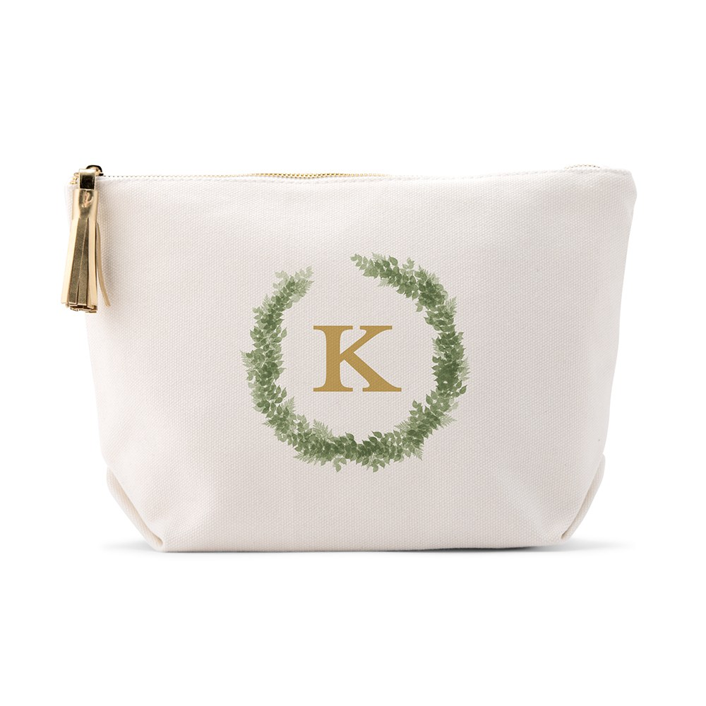 Large Personalized Canvas Makeup And Toiletry Bag For Women - Love Wreath Monogram