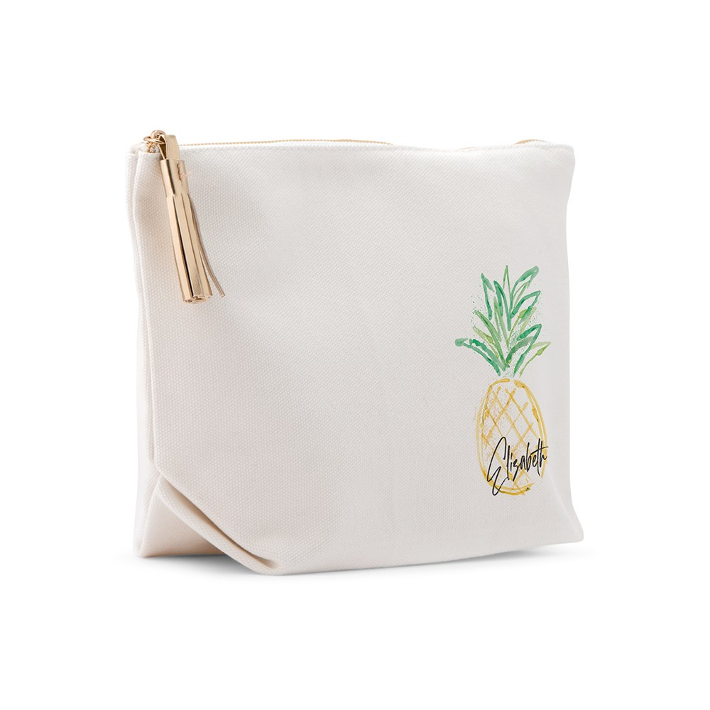 Large Personalized Canvas Makeup And Toiletry Bag For Women - Pineapple