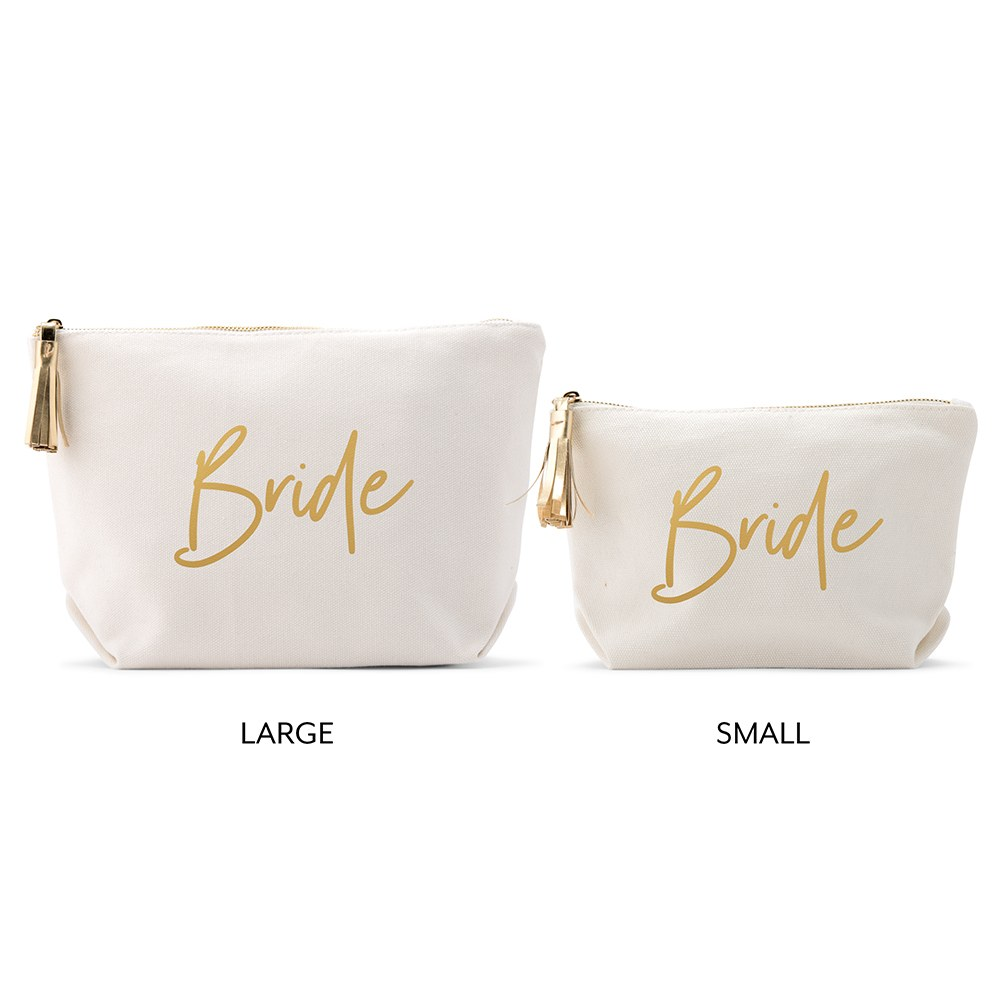 Personalized Canvas Makeup And Toiletry Bag For Women - Bride