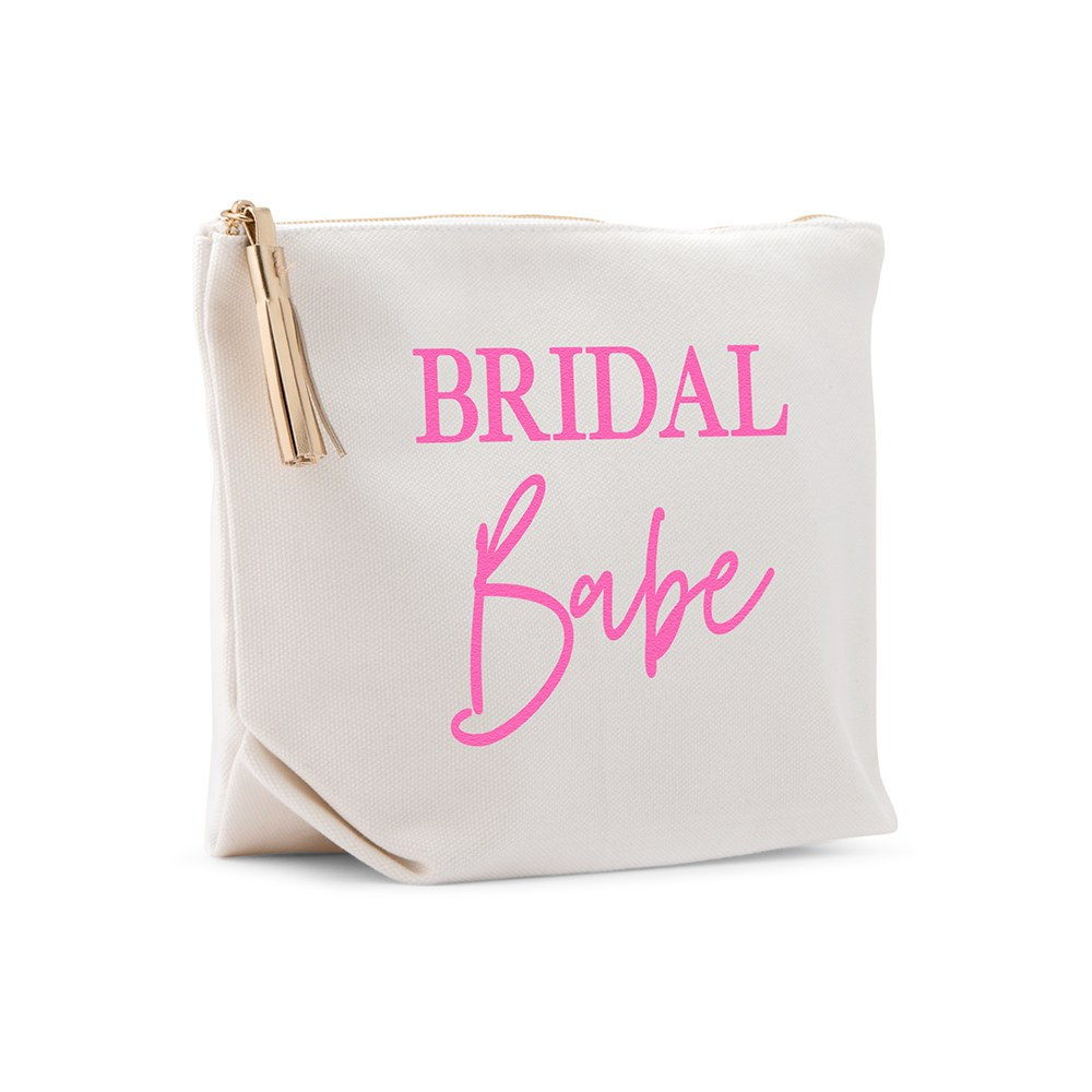 Large Personalized Canvas Makeup And Toiletry Bag For Women - Bridal Babe