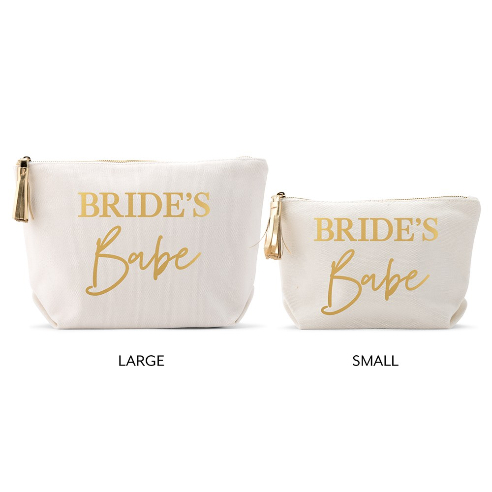 Personalized Canvas Makeup And Toiletry Bag For Women - Bride's Babe
