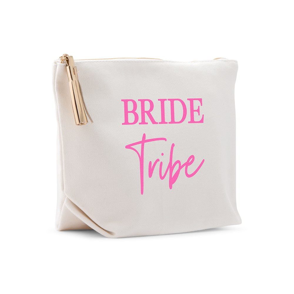 Large Personalized Canvas Makeup And Toiletry Bag For Women - Bride Tribe