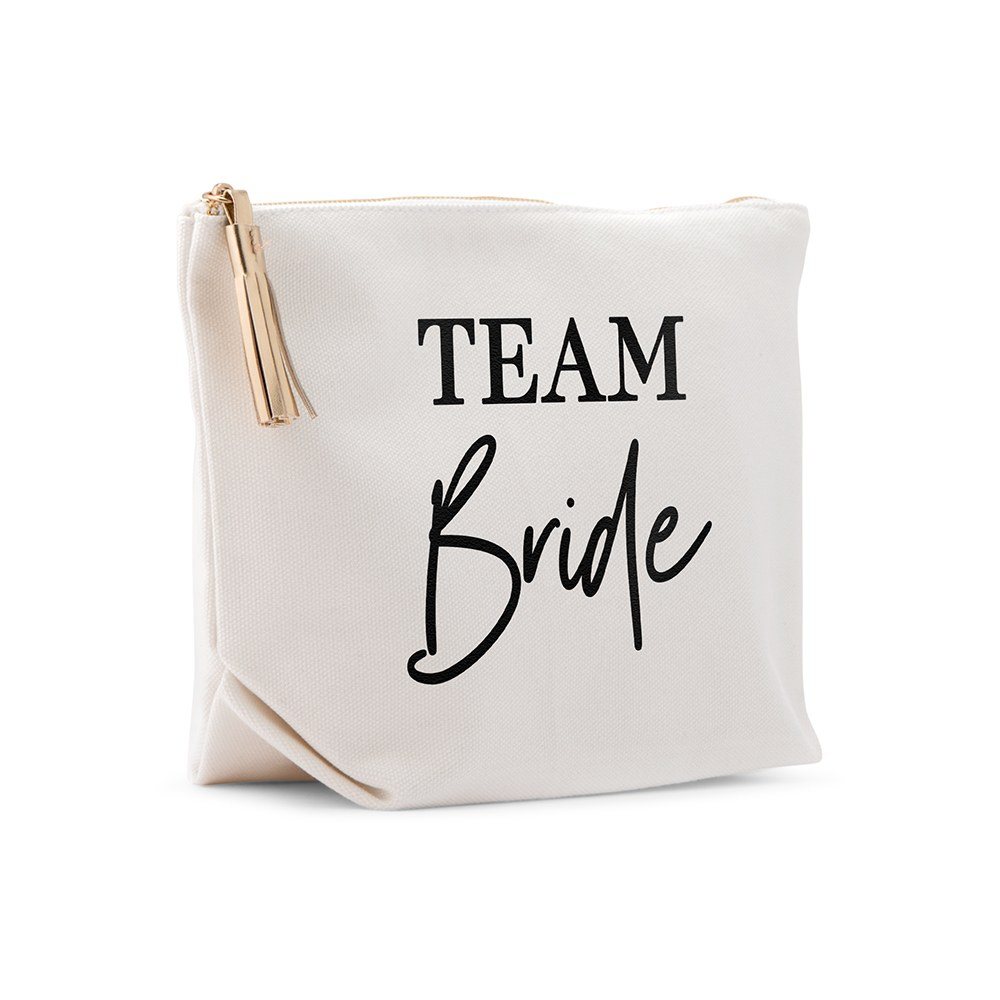 Large Personalized Canvas Makeup And Toiletry Bag For Women - Team Bride