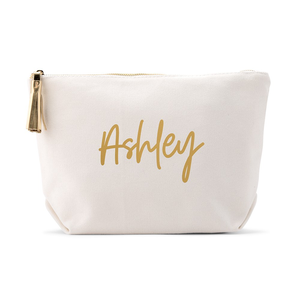 Large Personalized Canvas Makeup And Toiletry Bag For Women - Script Font