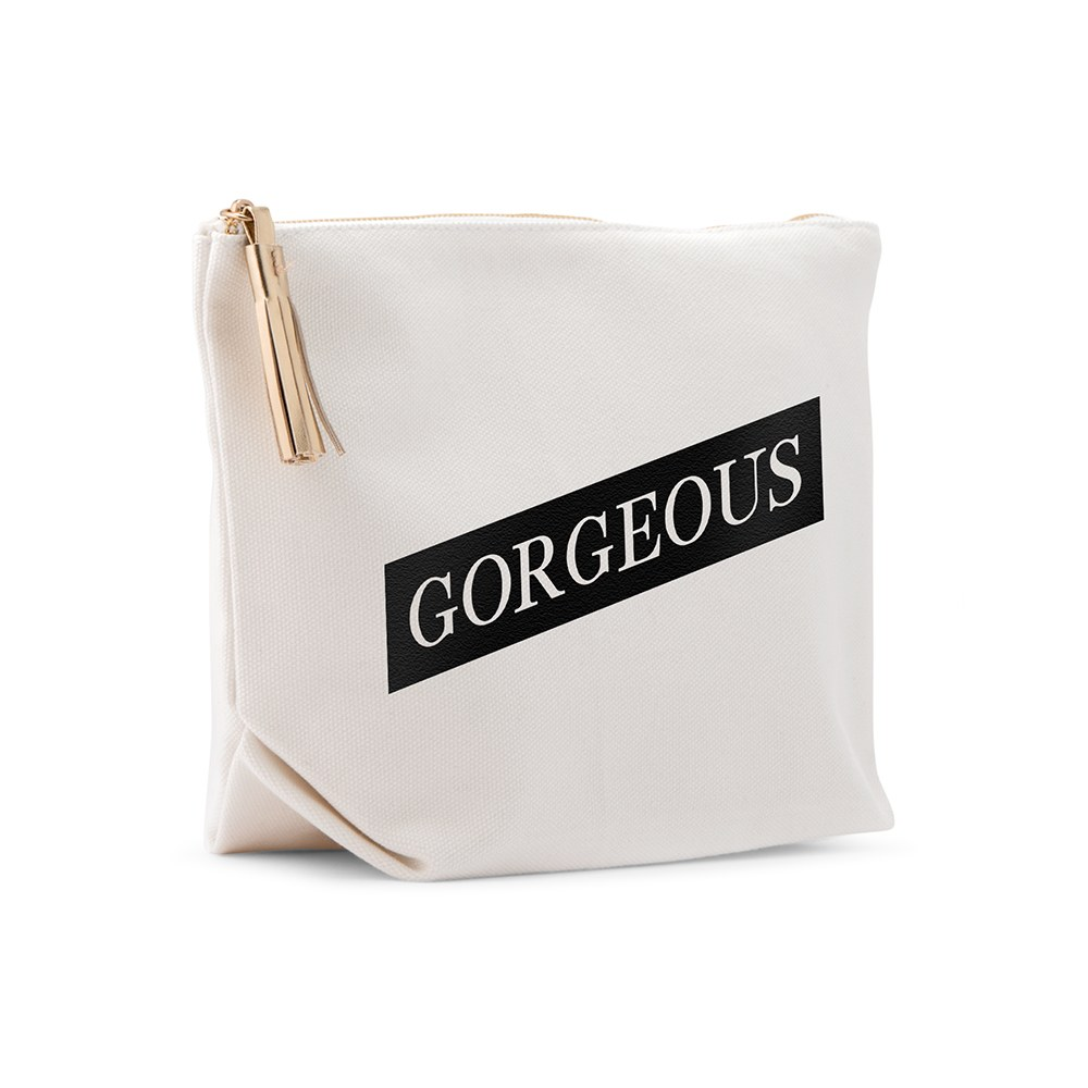 Large Personalized Canvas Makeup And Toiletry Bag For Women - Gorgeous