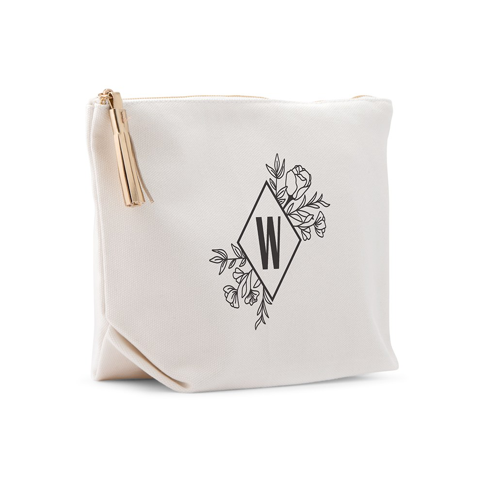 Large Personalized Canvas Makeup And Toiletry Bag For Women - Floral Monogram