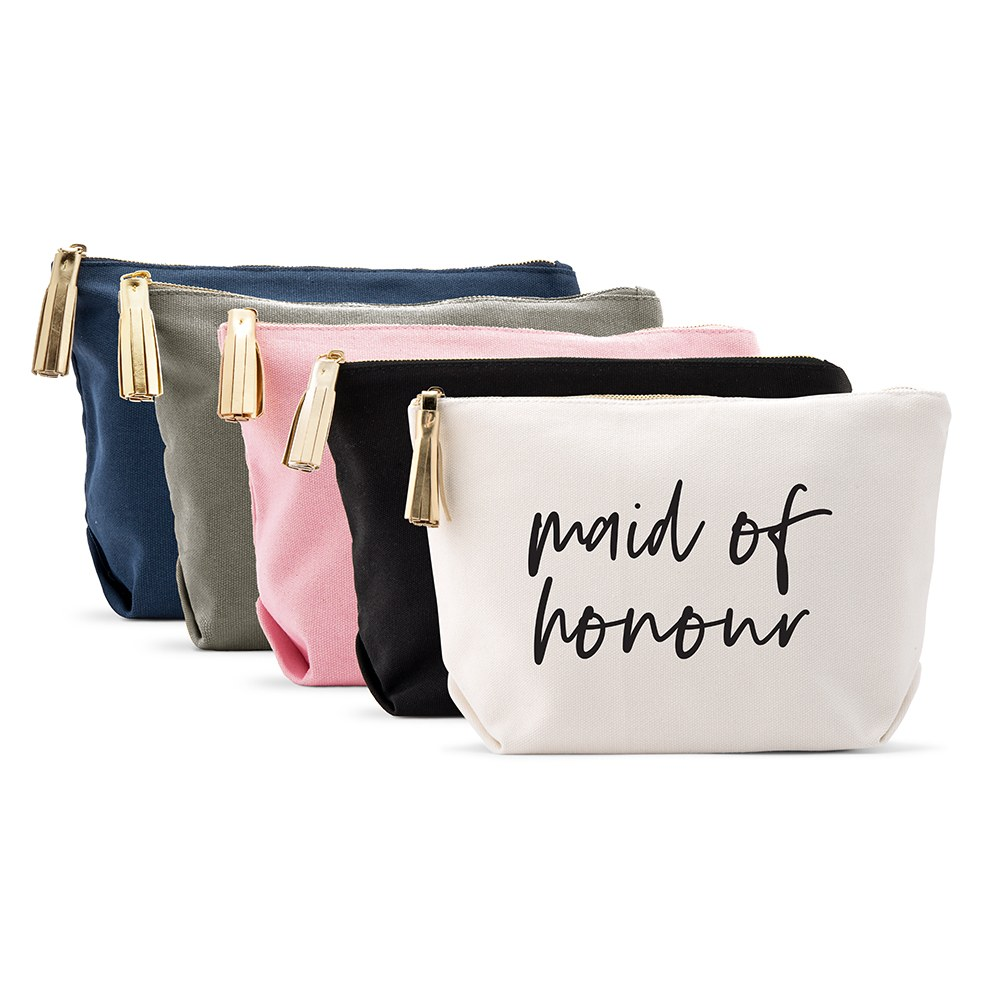 Large Personalized Canvas Makeup Bag - Maid of Honour Script