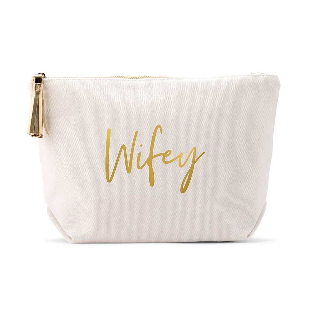 Large Personalized Canvas Makeup Bag - Wifey Script