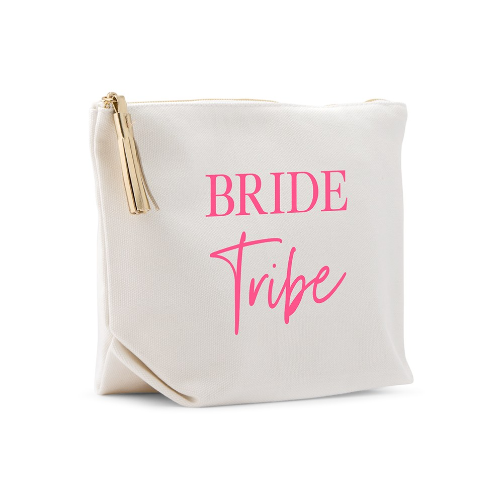 Large Personalized Canvas Makeup Bag - Bride Tribe Script