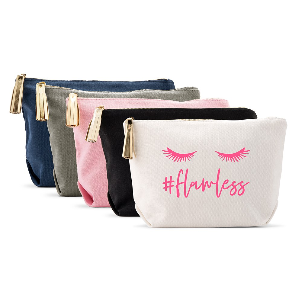 Large Personalized Canvas Makeup Bag - #Flawless