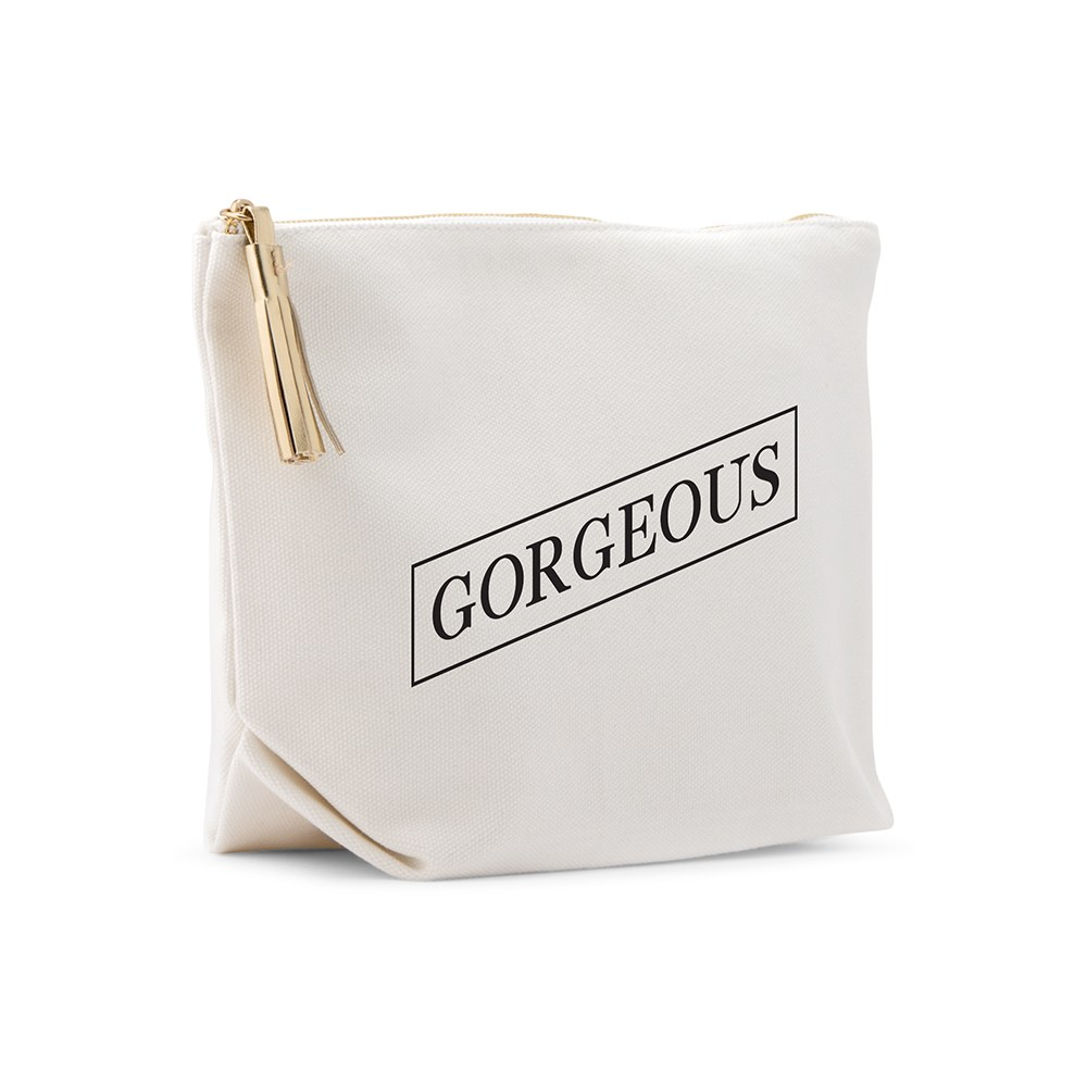 Large Personalized Canvas Makeup Bag - Gorgeous