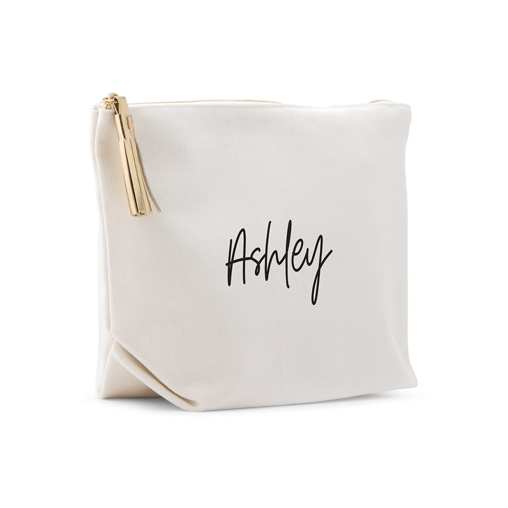 Large Personalized Canvas Makeup Bag - Script Font
