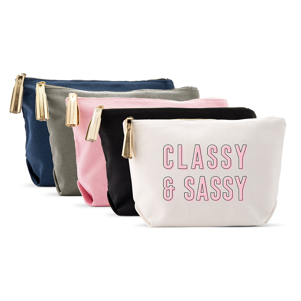 Large Personalized Canvas Makeup Bag - Classy & Sassy