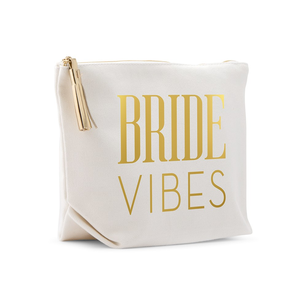 Large Personalized Canvas Makeup Bag - Beach Bride Vibes