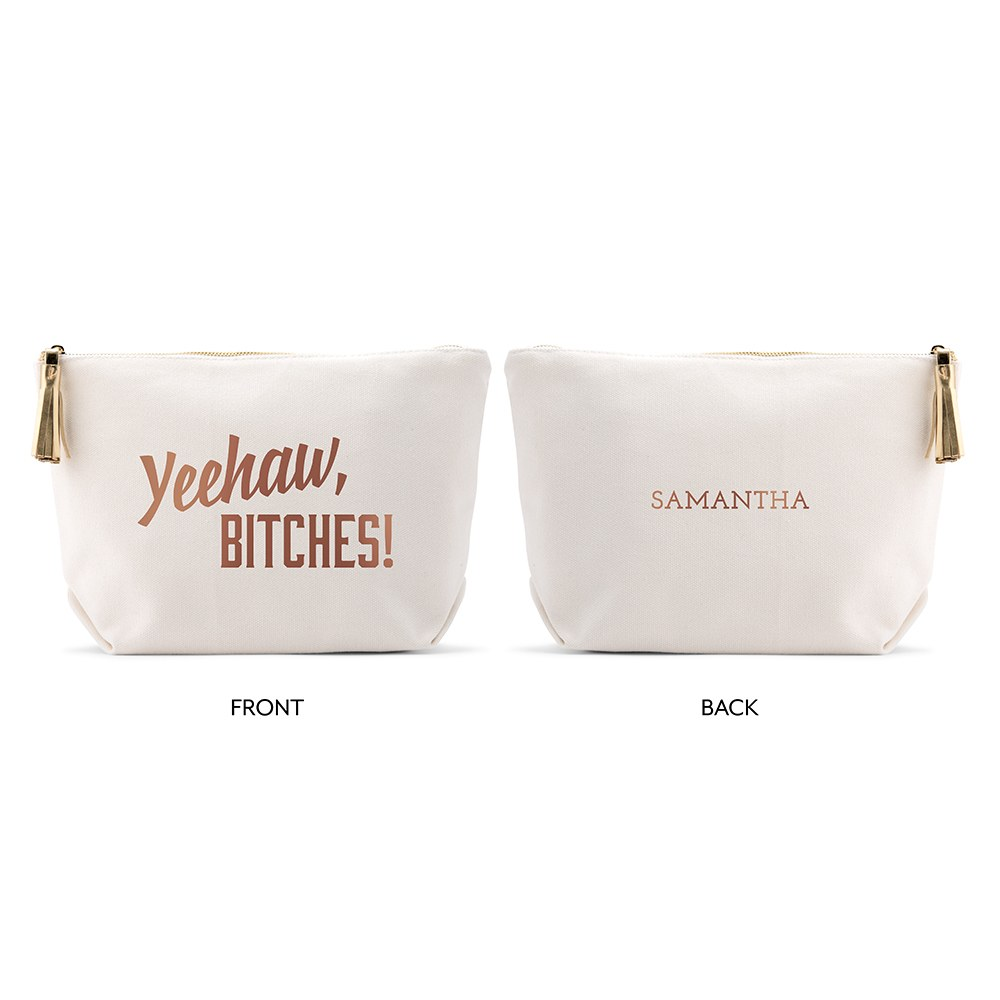 Large Personalized Canvas Makeup Bag - Yeehaw Bitches