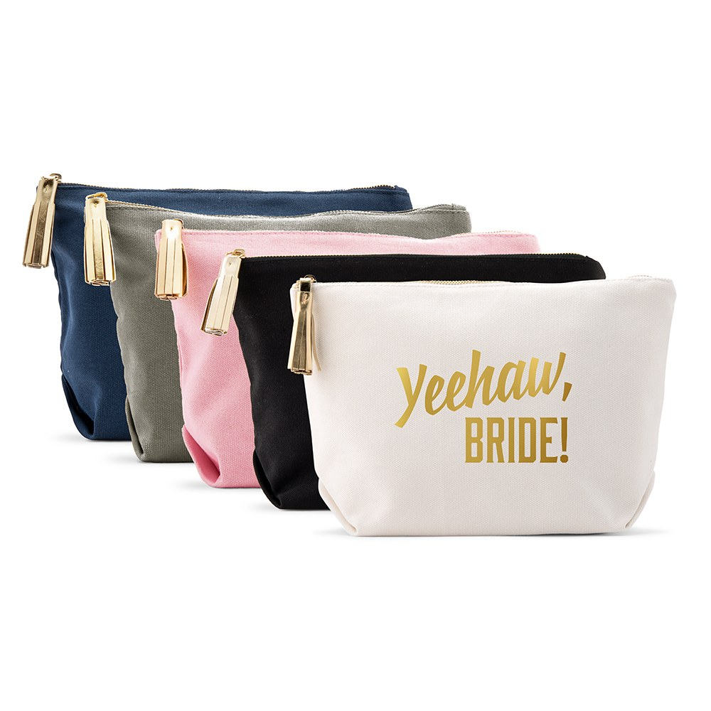 Large Personalized Canvas Makeup Bag - Yeehaw Bride