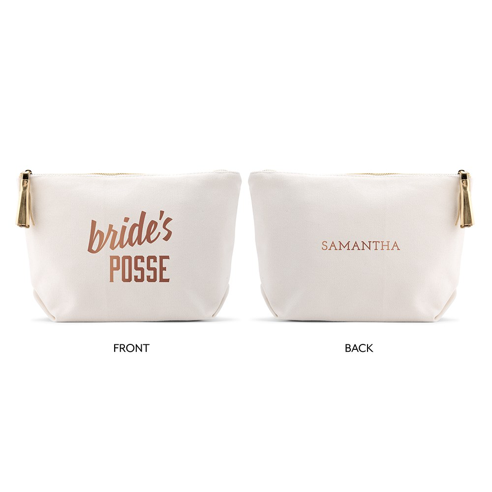 Large Personalized Canvas Makeup Bag - Bride's Posse