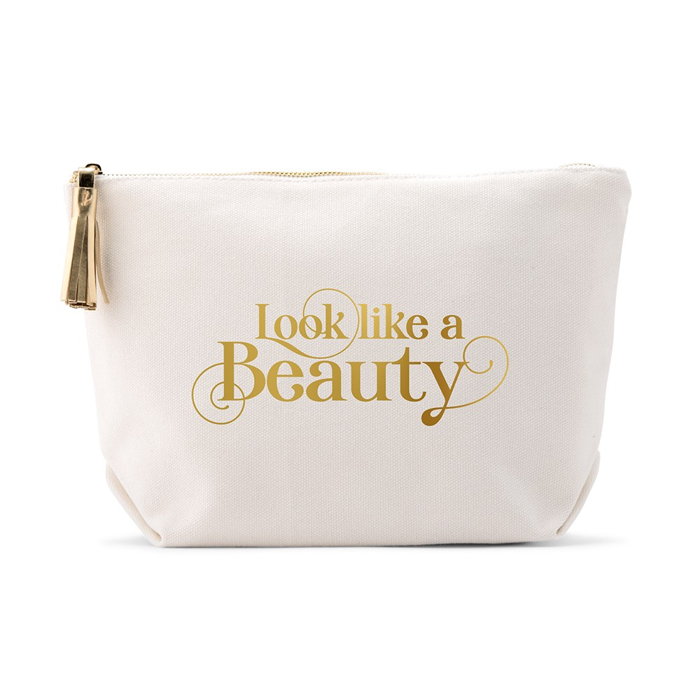 Large Personalized Canvas Makeup Bag - Look like a Beauty