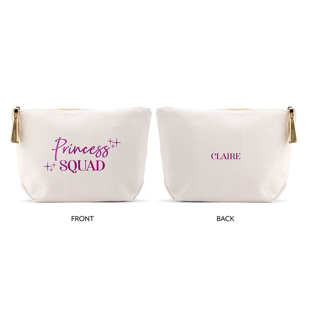 Large Personalized Canvas Makeup Bag - Princess Squad