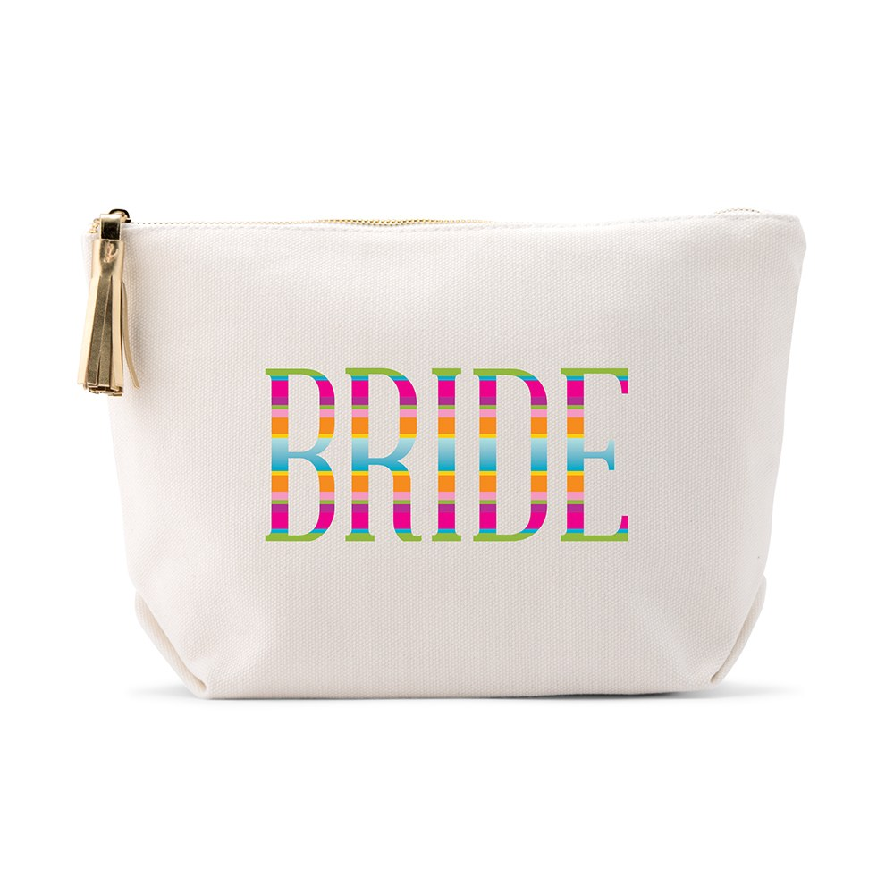 Large Personalized Canvas Makeup Bag - Fiesta Bride