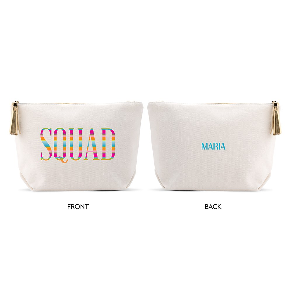 Large Personalized Canvas Makeup Bag - Fiesta Squad