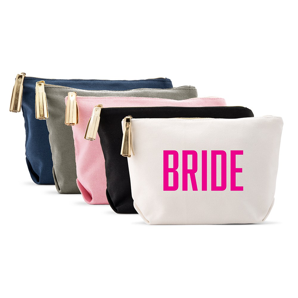 Large Personalized Canvas Makeup Bag - Glam Bride