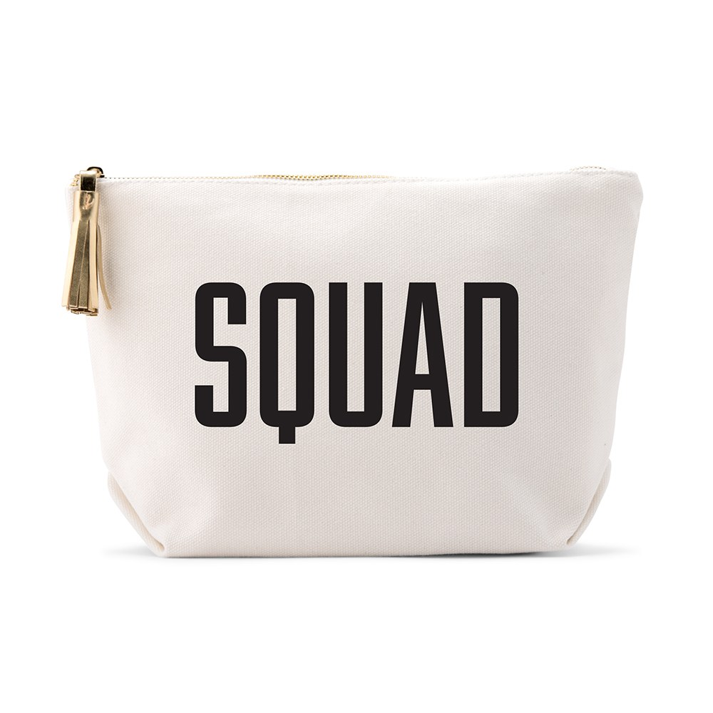 Large Personalized Canvas Makeup Bag - Glam Squad