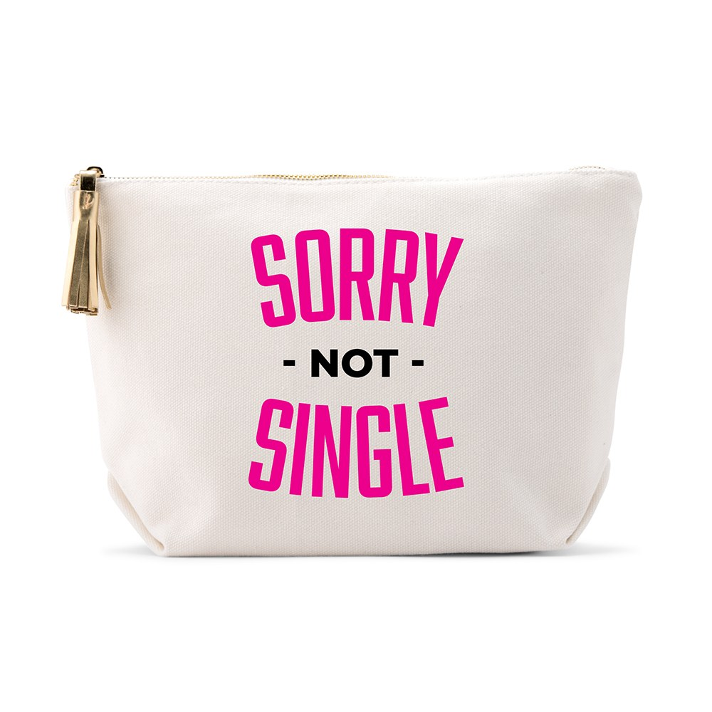 Large Personalized Canvas Makeup Bag - Sorry Not Single