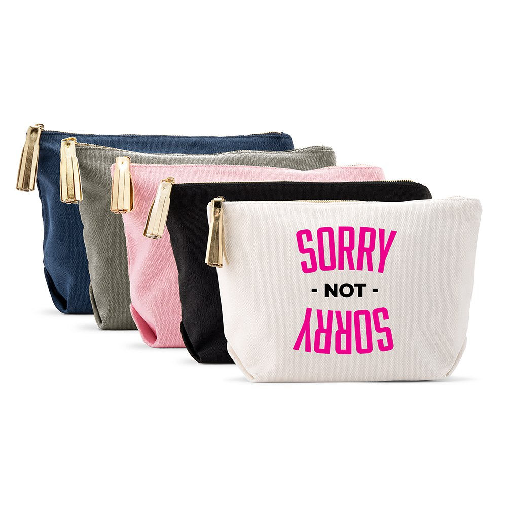 Large Personalized Canvas Makeup Bag - Sorry Not Sorry