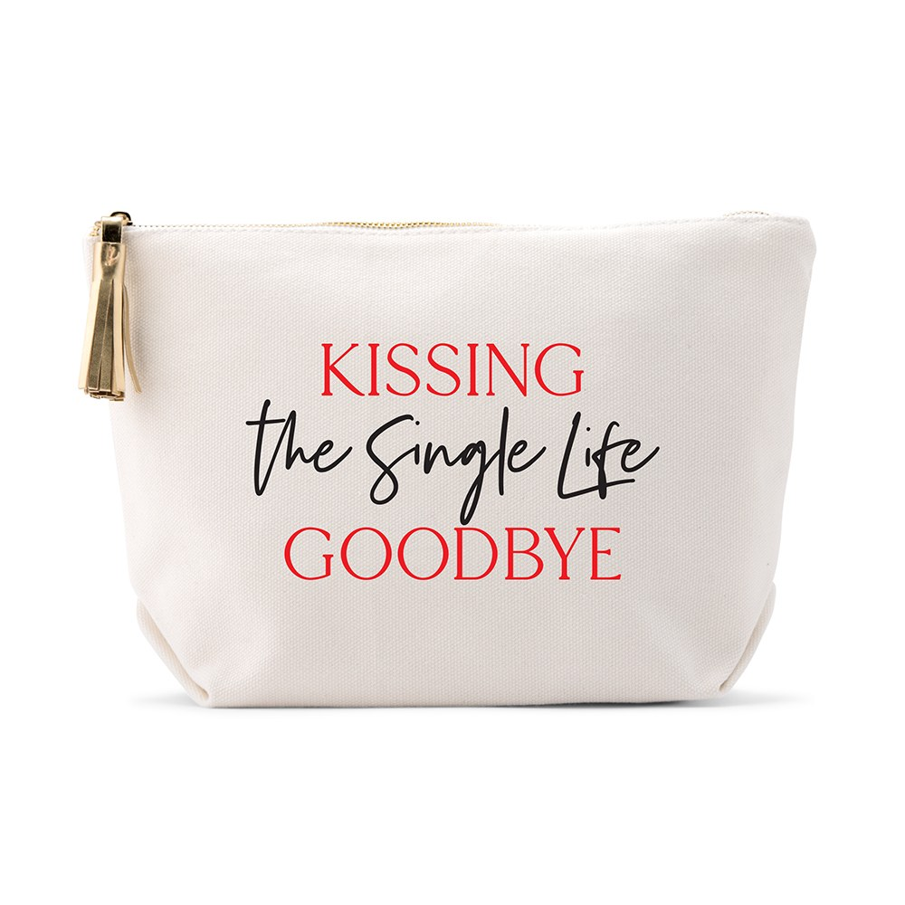 Large Personalized Canvas Makeup Bag - Kissing the Single Life Goodbye