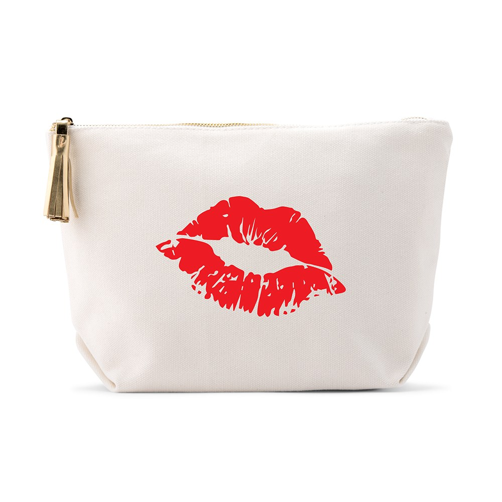 Large Personalized Canvas Makeup Bag - Red Lips