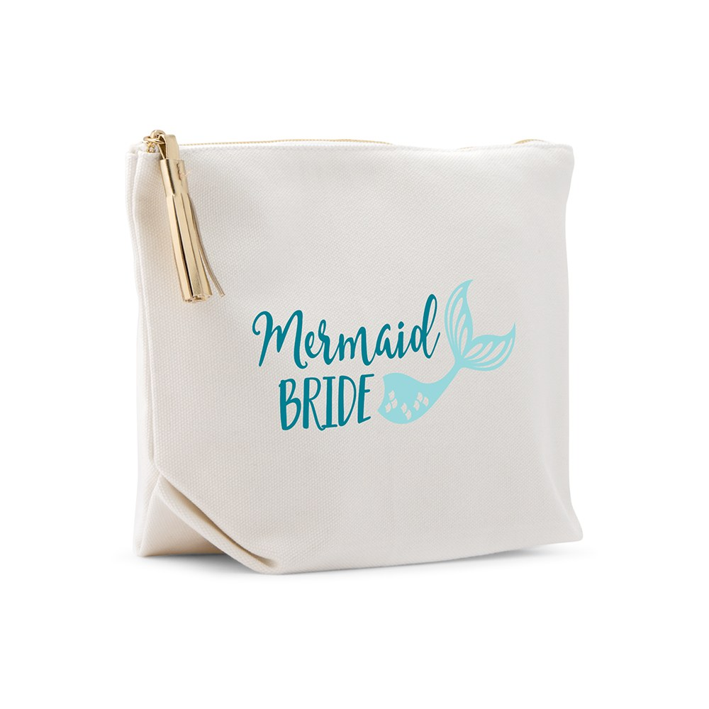 Large Personalized Canvas Makeup Bag - Mermaid Bride