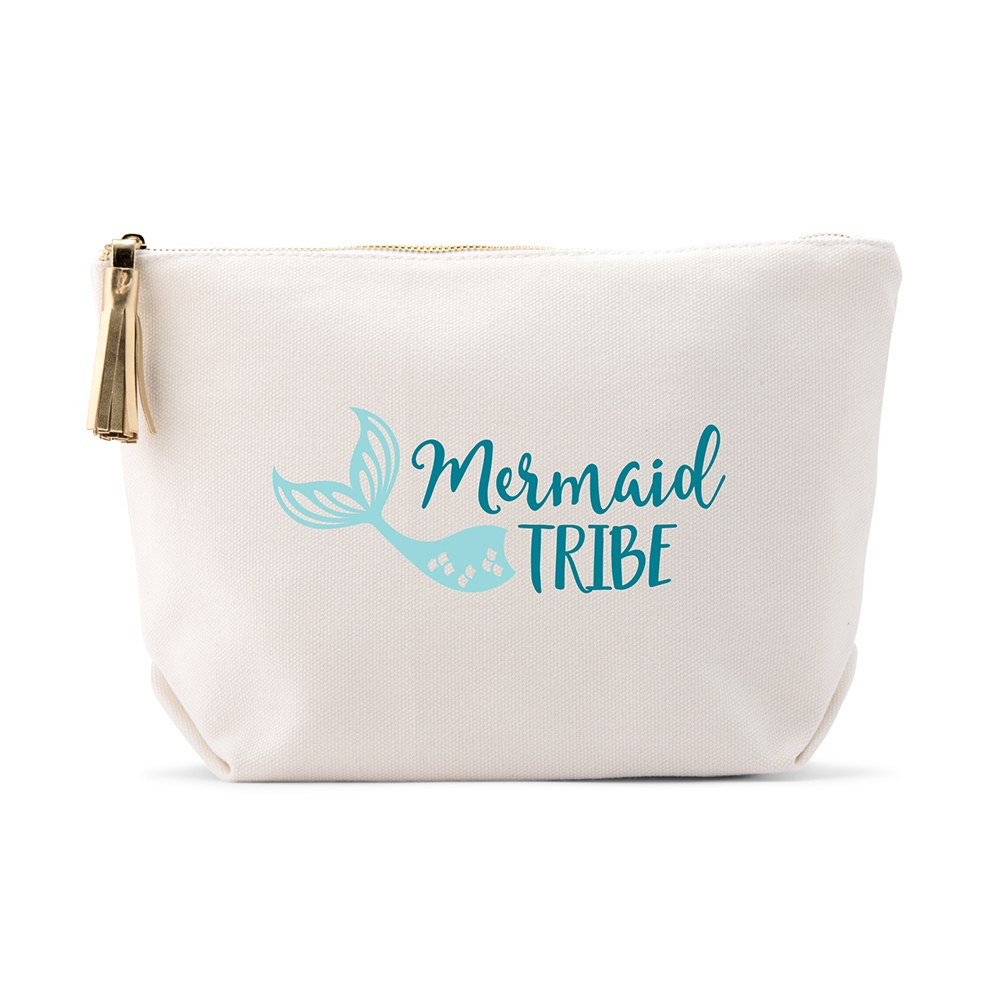 Large Personalized Canvas Makeup Bag - Mermaid Tribe