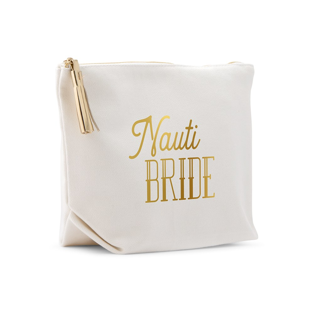 Large Personalized Canvas Makeup Bag - Nauti Bride