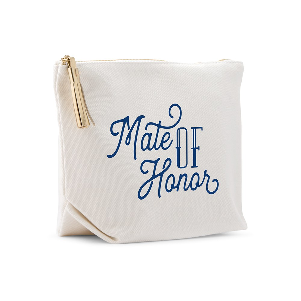 Large Personalized Canvas Makeup Bag - Mate of Honor