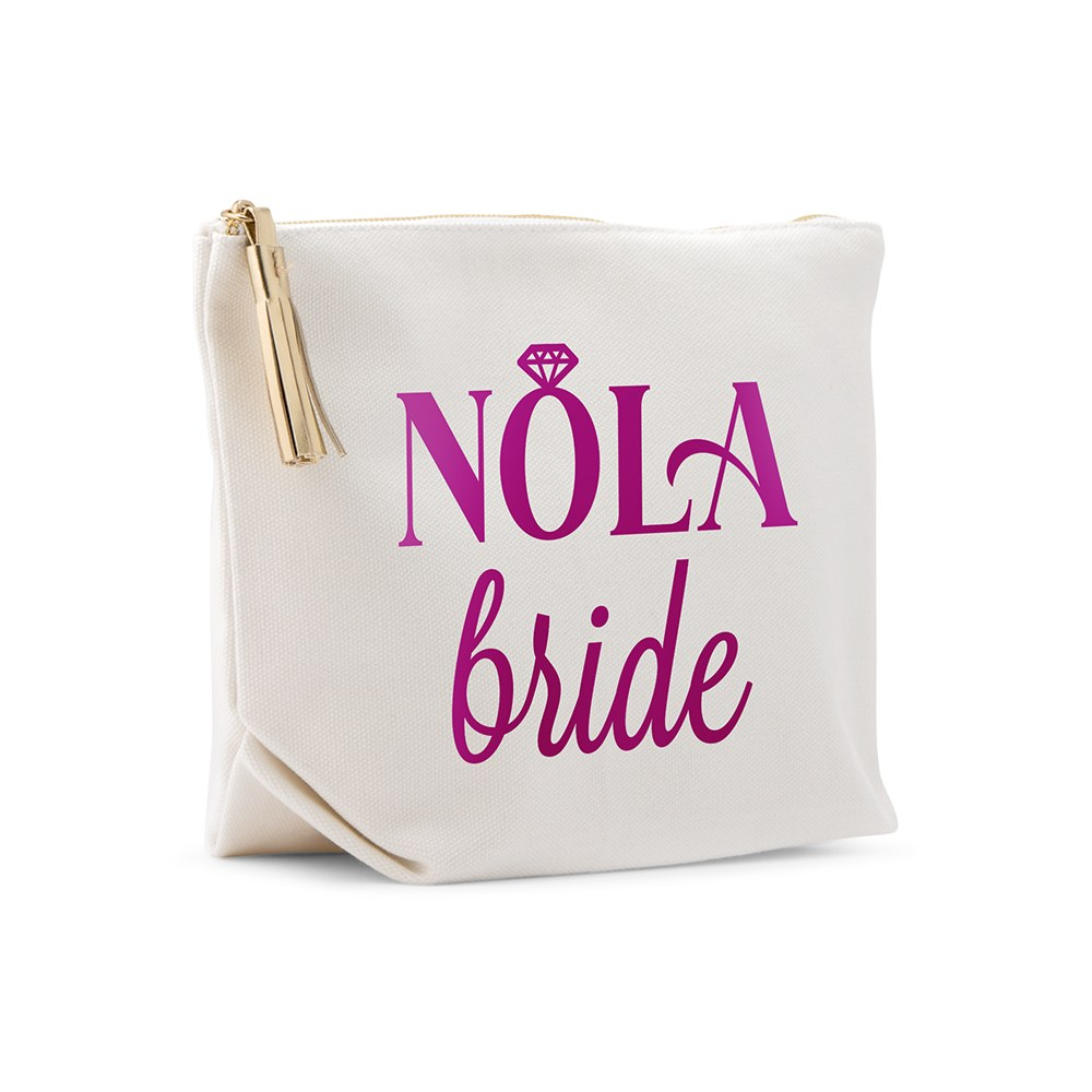 Large Personalized Canvas Makeup Bag - NOLA Bride