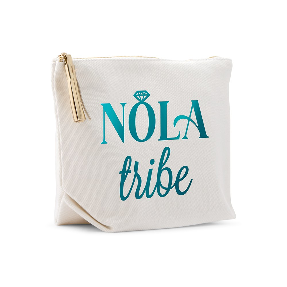 Large Personalized Canvas Makeup Bag - NOLA Tribe
