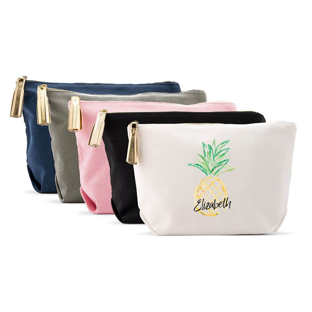 Large Personalized Canvas Makeup Bag - Pineapple