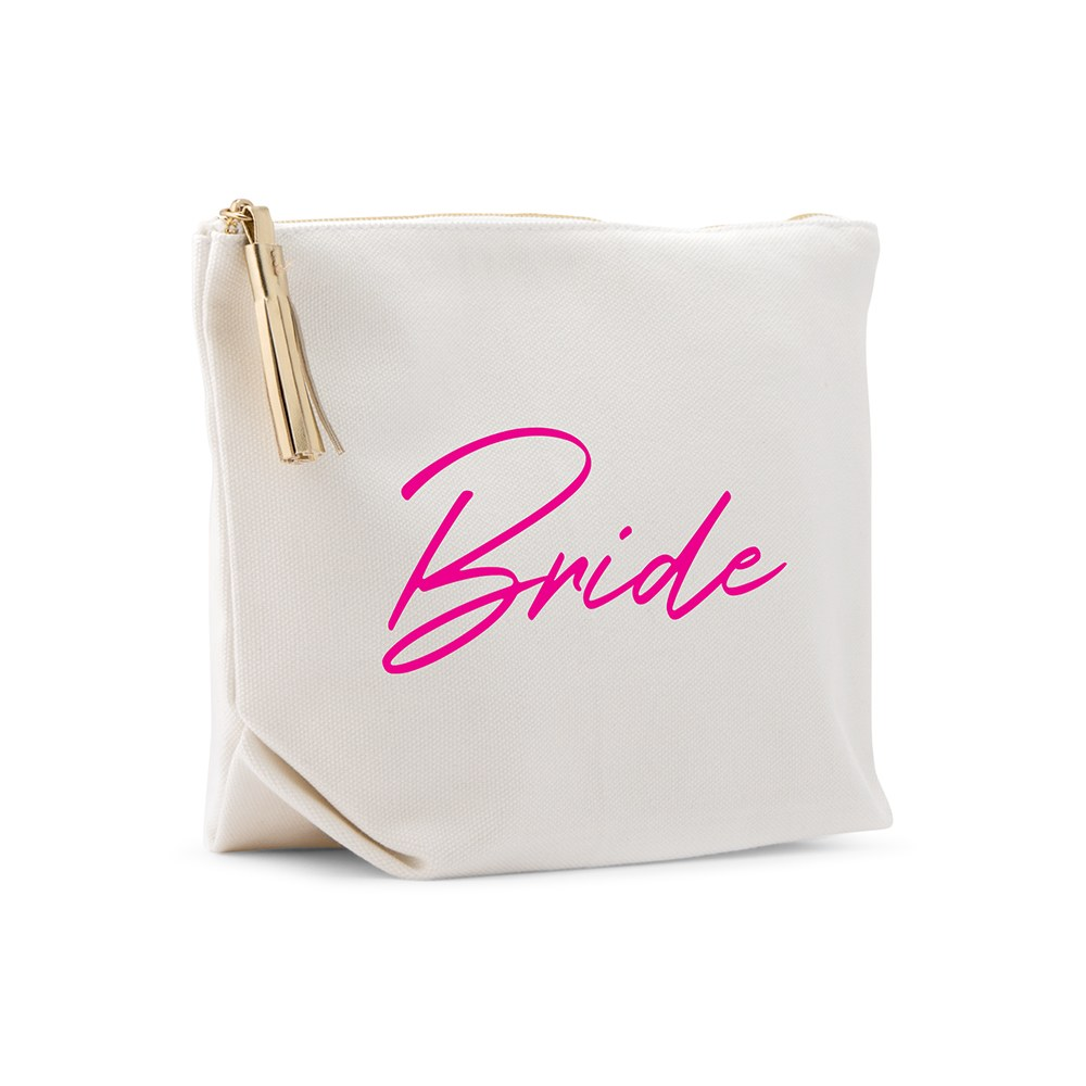 Large Personalized Canvas Makeup Bag - Vegas Bride