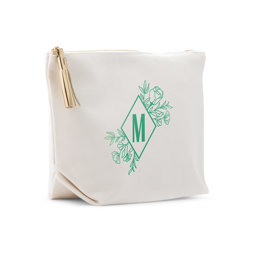 Large Personalized Canvas Makeup Bag - Floral Monogram