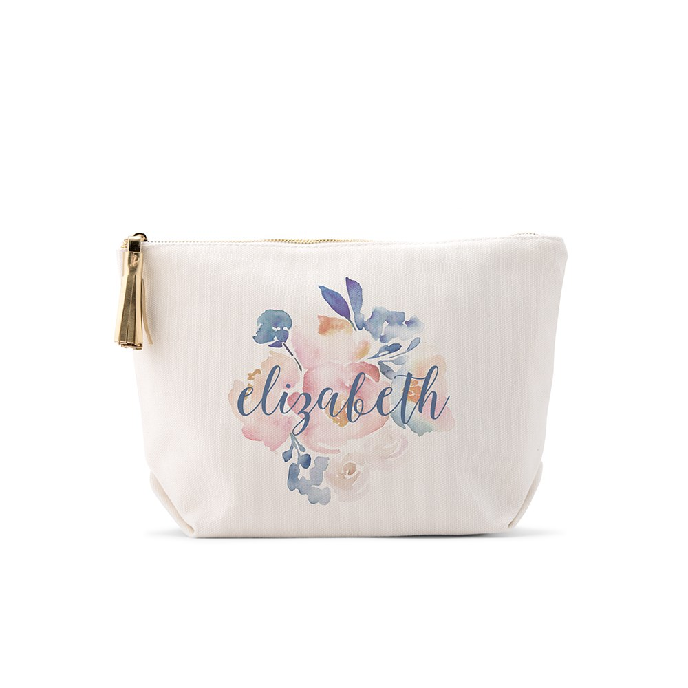 Small Personalized Canvas Makeup And Toiletry Bag For Women - Floral Garden Party