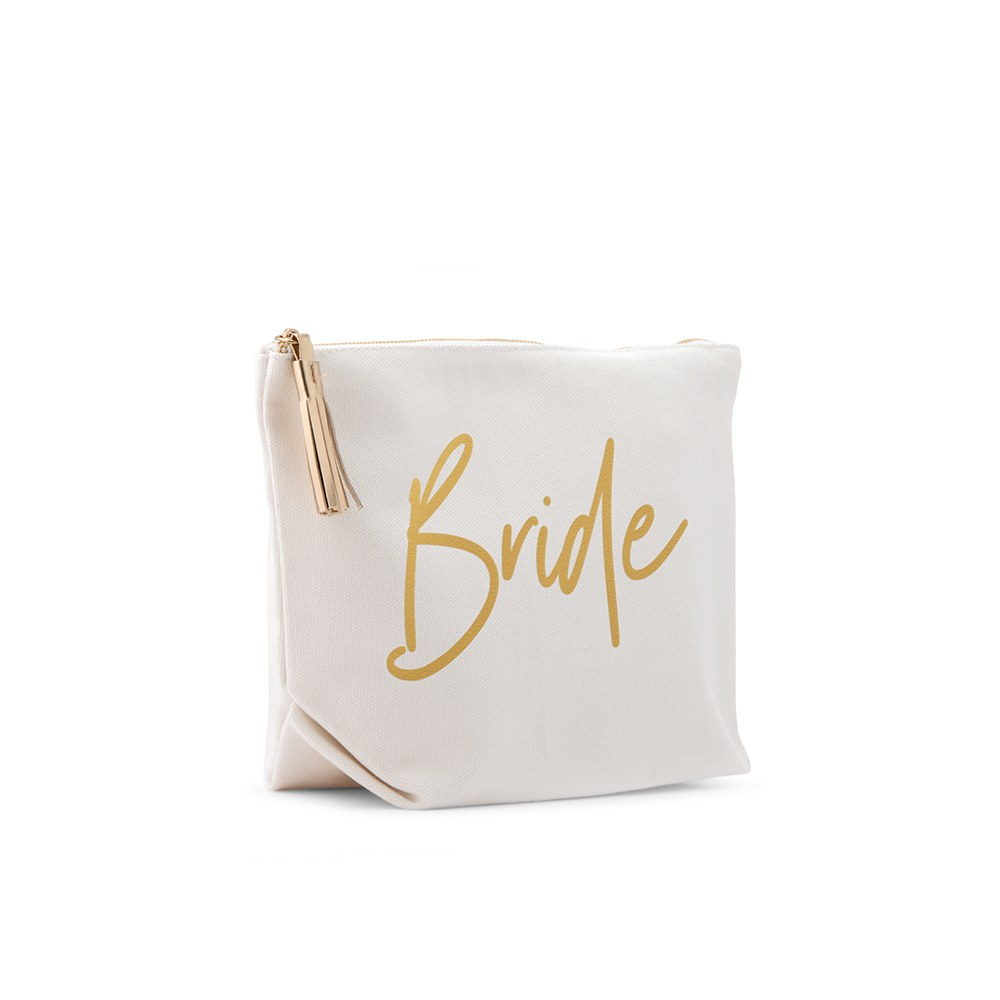 Small Personalized Canvas Makeup And Toiletry Bag For Women - Bride