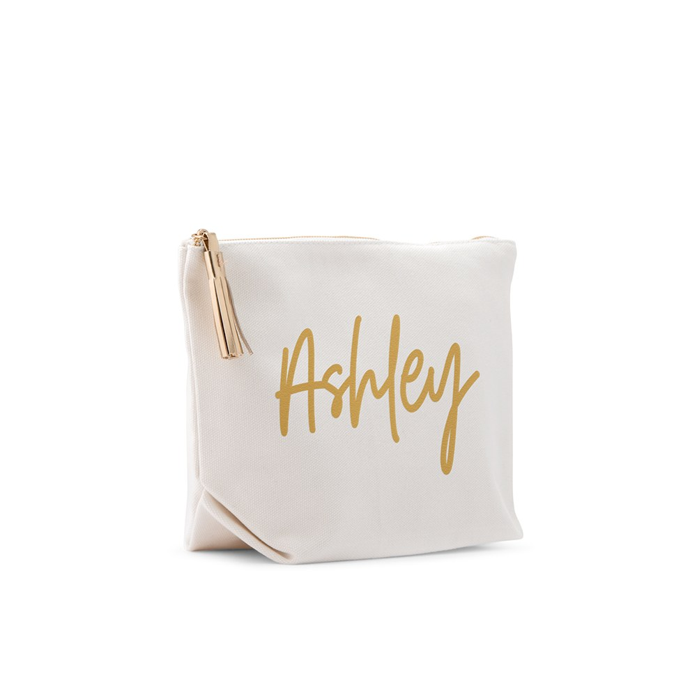 Small Personalized Canvas Makeup And Toiletry Bag For Women - Script Font