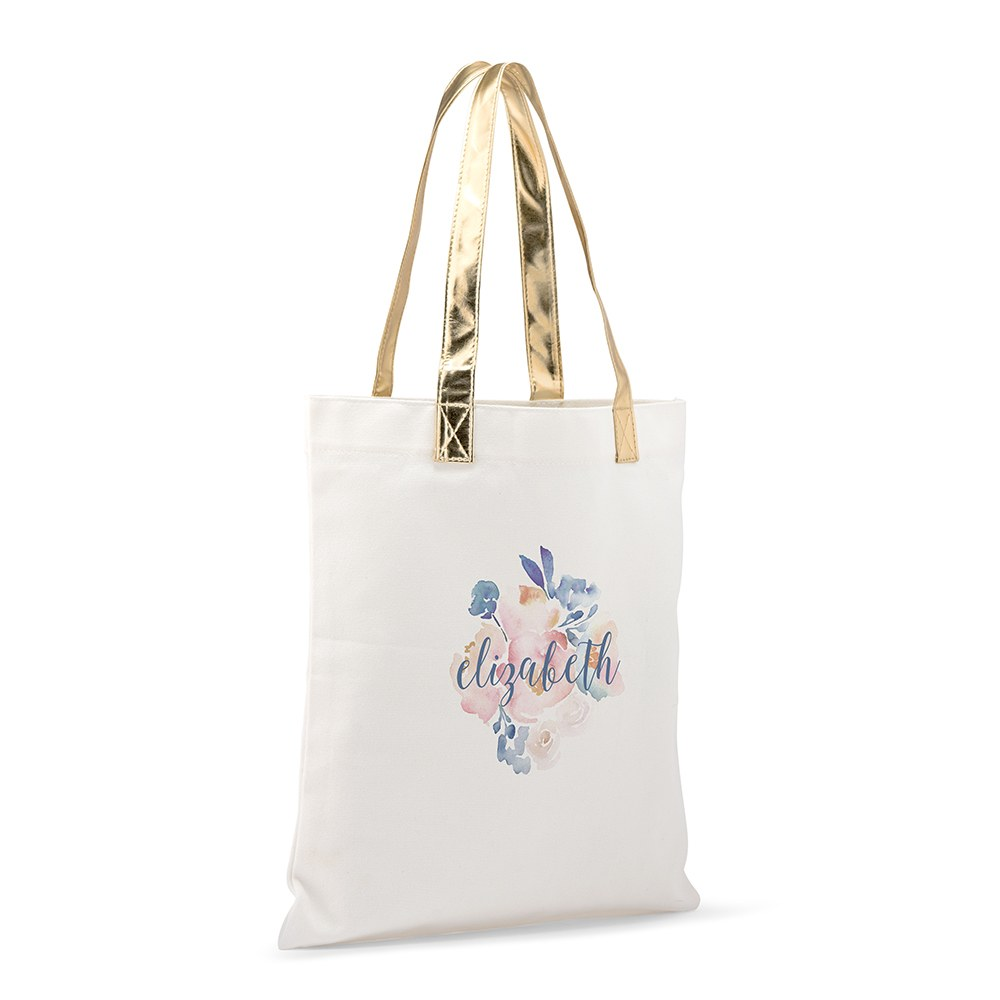 Personalized Cotton Canvas Fabric Tote Bag With Gold Strap - Floral Garden Party