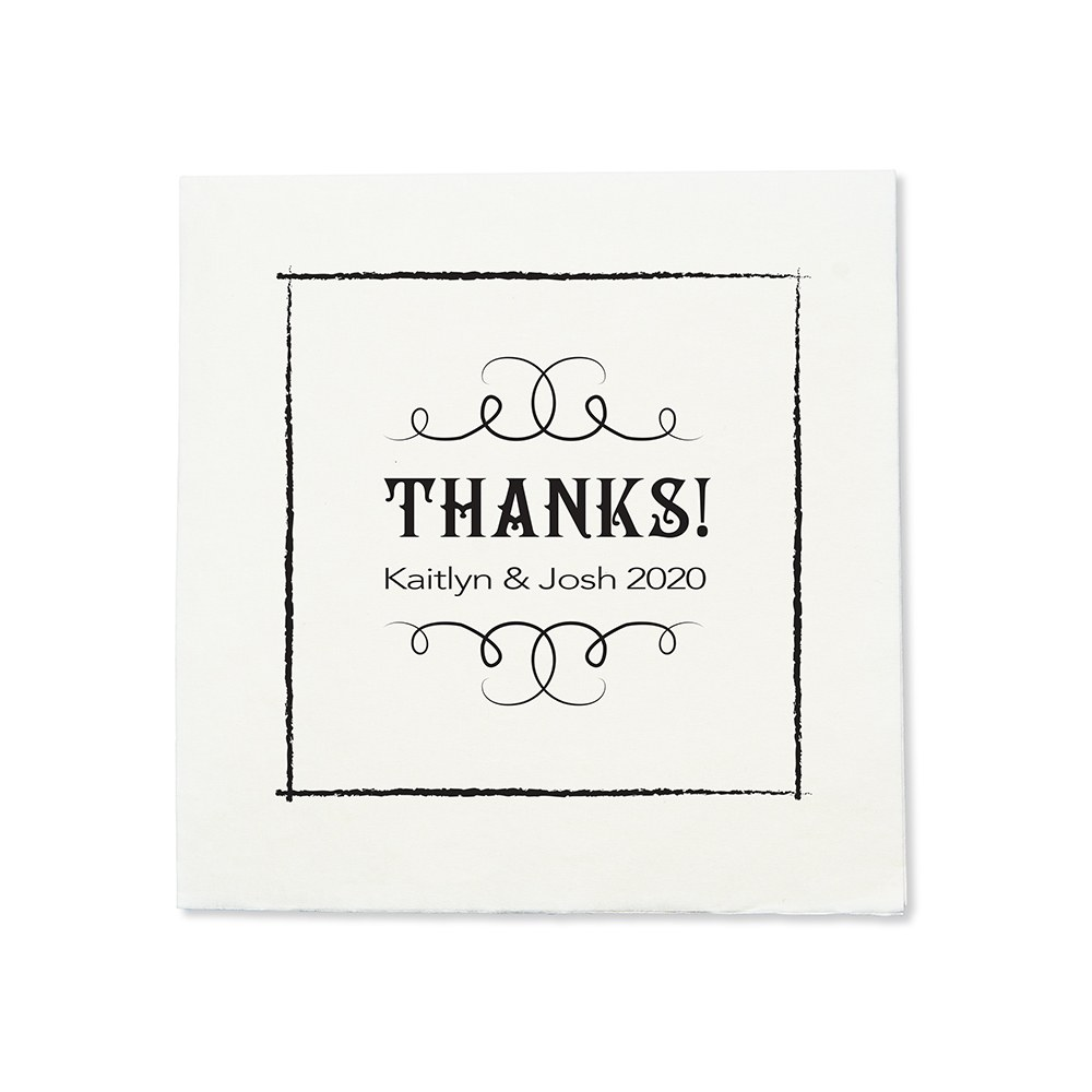 Personalized Color Printed Wedding Napkins - Chalkboard